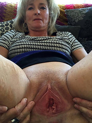 Naked women over 60 years open vagina