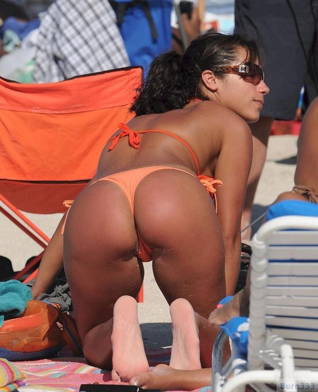 Thong black tanned milf busty