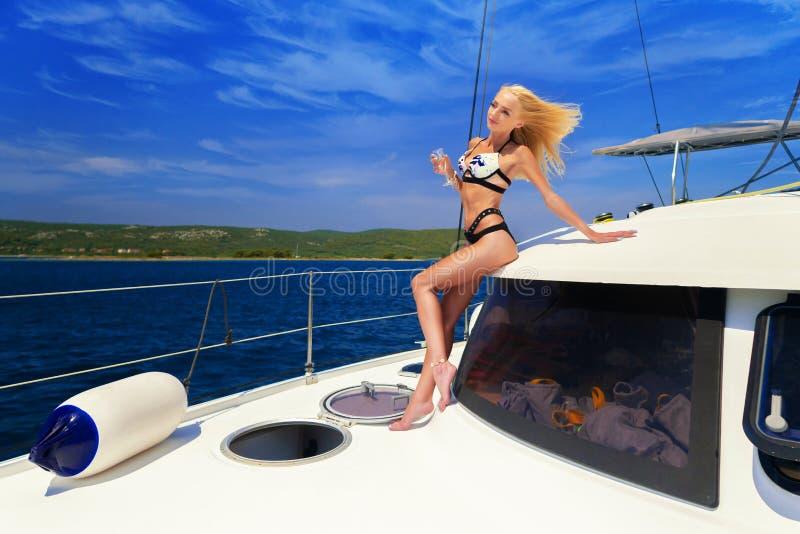 Blonde girl on boat