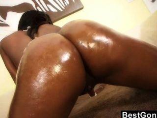 Oily huge black butt