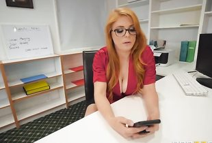Redhead glasses sex front of class