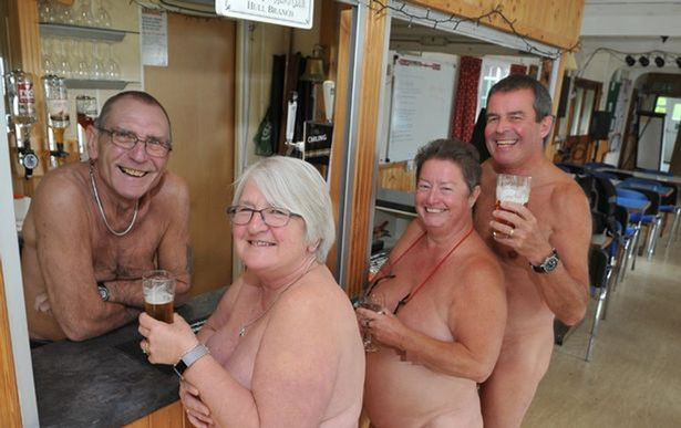 Nudist family at home