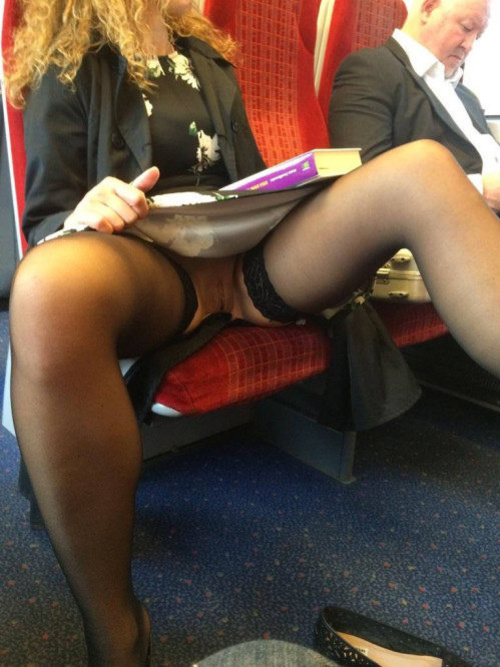 Up skirt public nude pussy