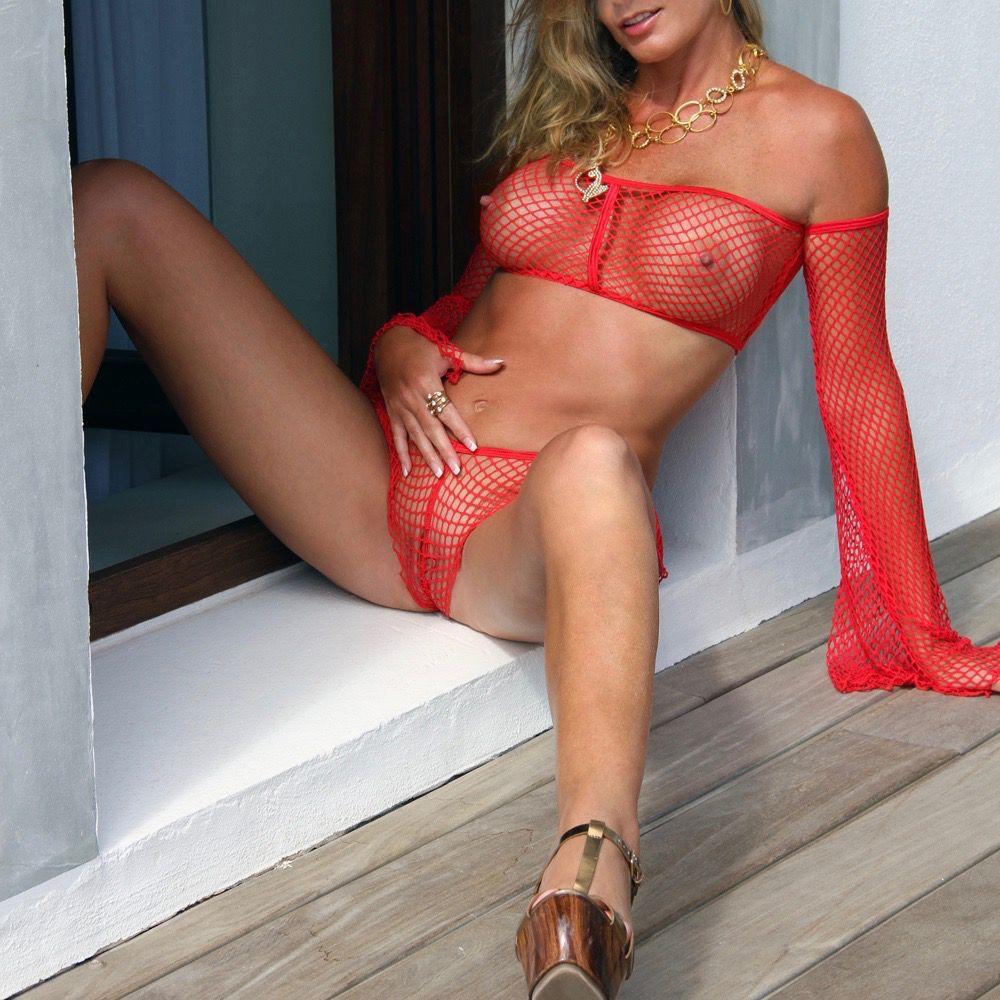 Red see through bikini