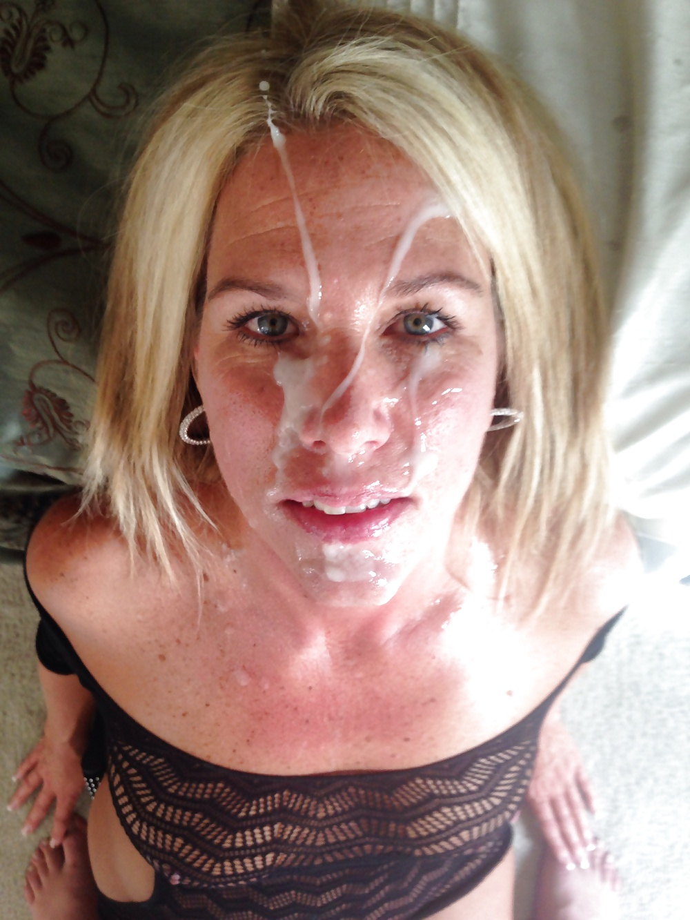 Cumshots facial blonde messy