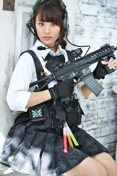 With airsoft girls shooting japanese guns