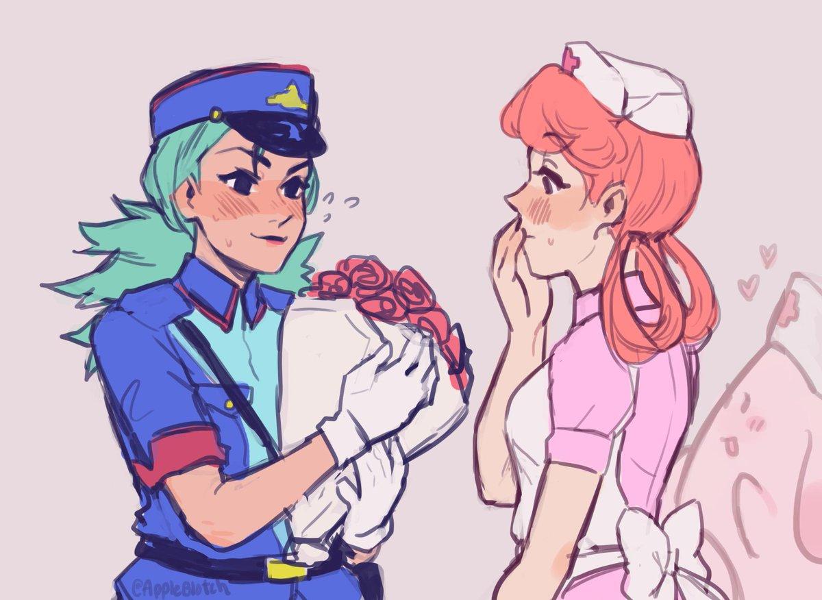 Sexy nurse joy and officer jenny hentai