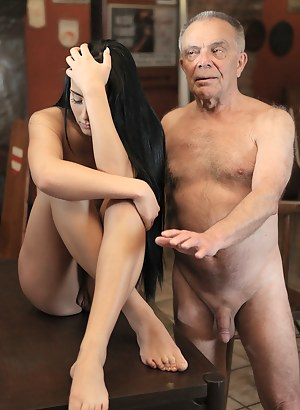 Nude girl with old man