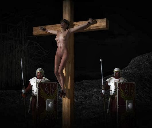 Crucified naked cross women on