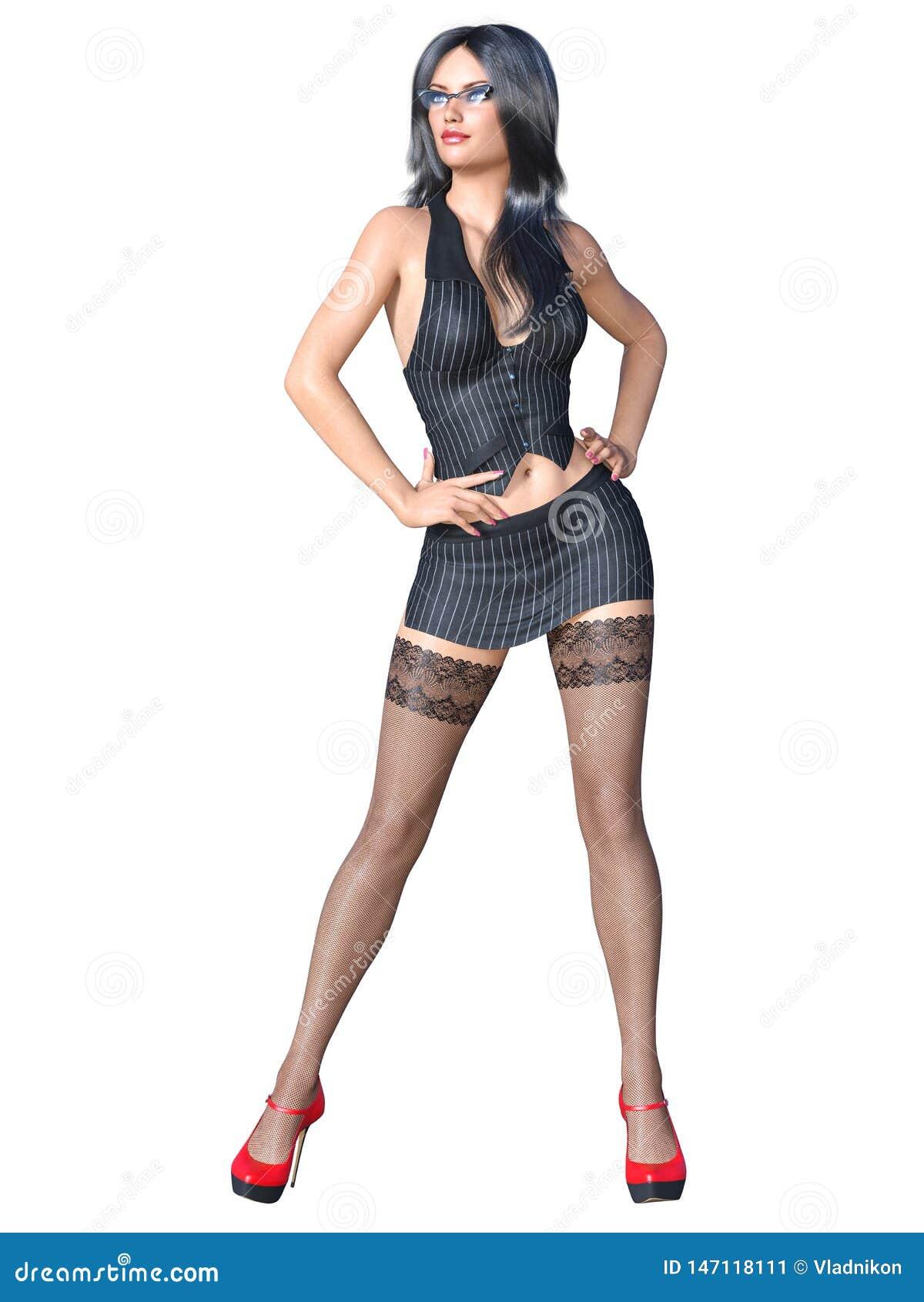 Mini skirt secretary glasses