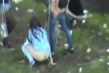Girls caught pissing outdoors