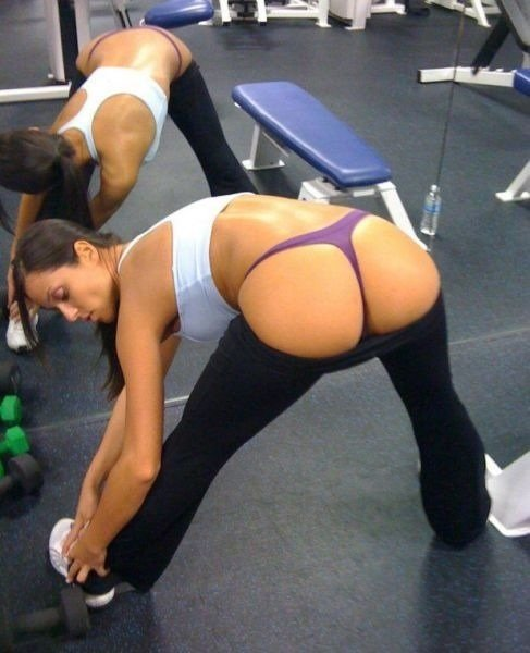 Hot girls yoga pants at gym porn
