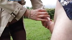 Delivery woman handjob outdoor