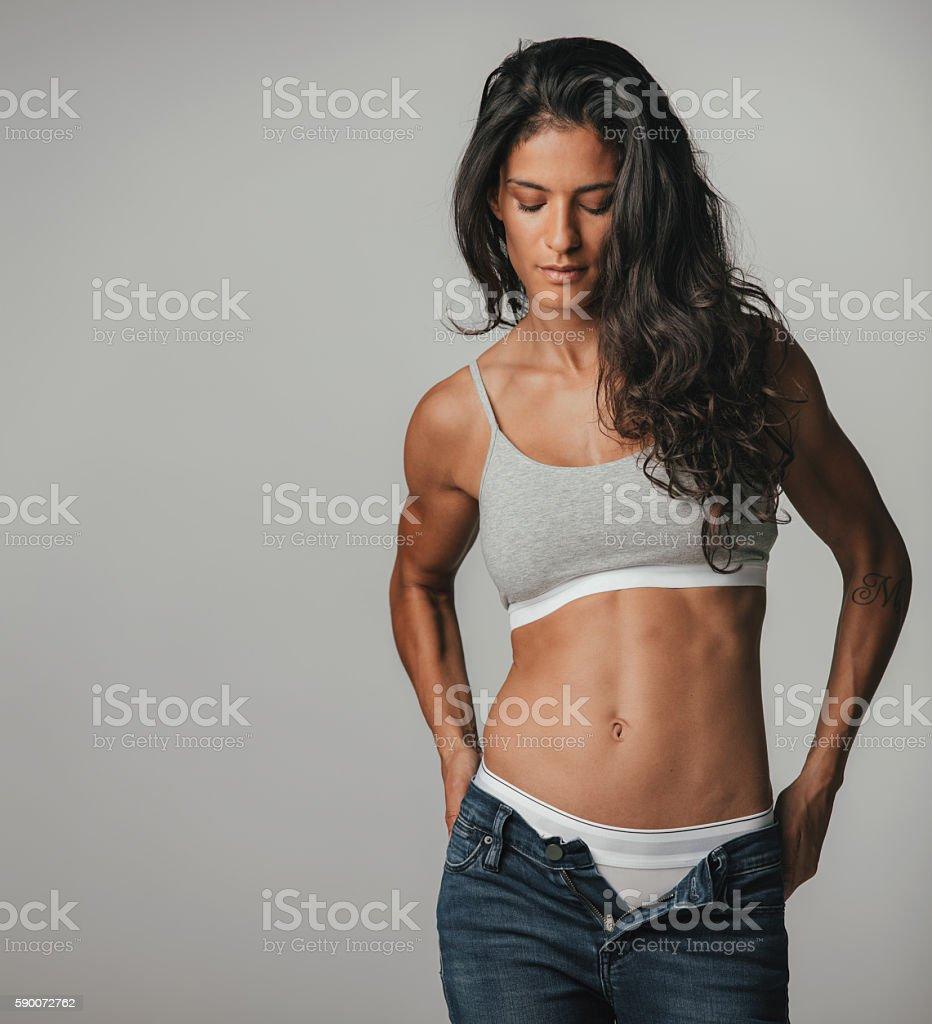 In beautiful jeans girls unzipped