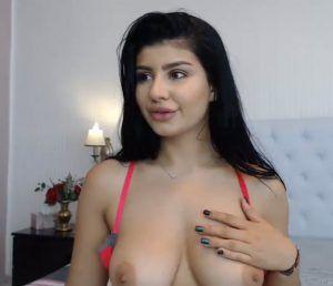 Skinny nude girl thumbs