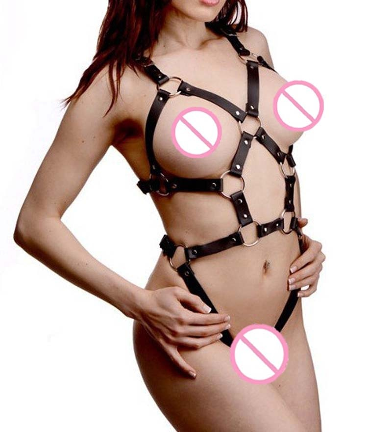 Kinky leather string lingerie