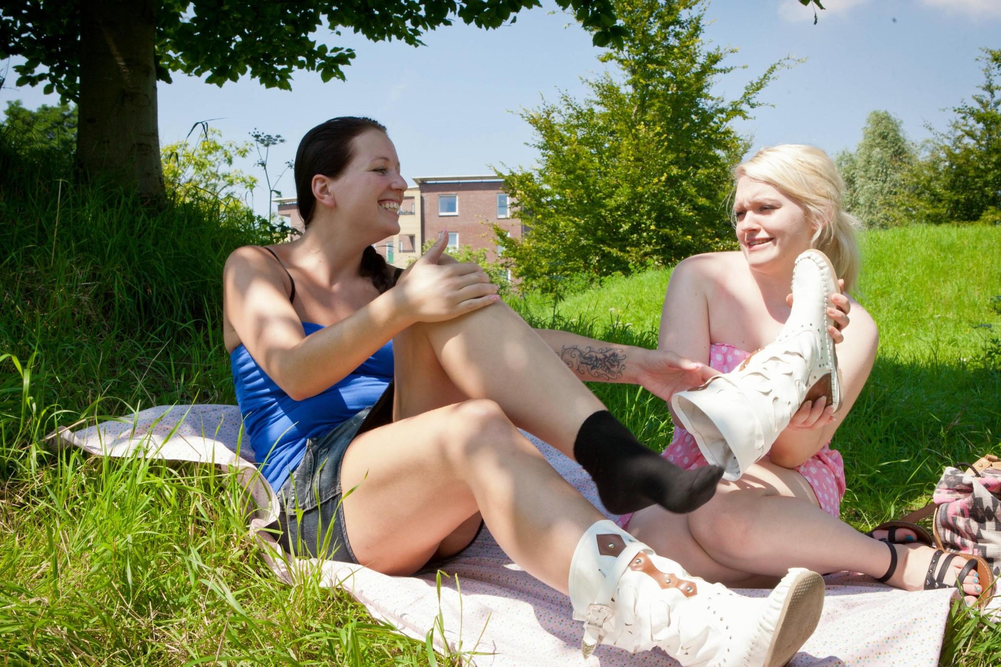Amateur lesbian sex outdoors