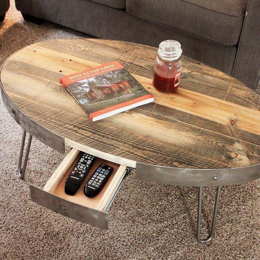 Reclaimed wood oval coffee table