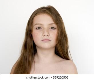 Young teen girl bare