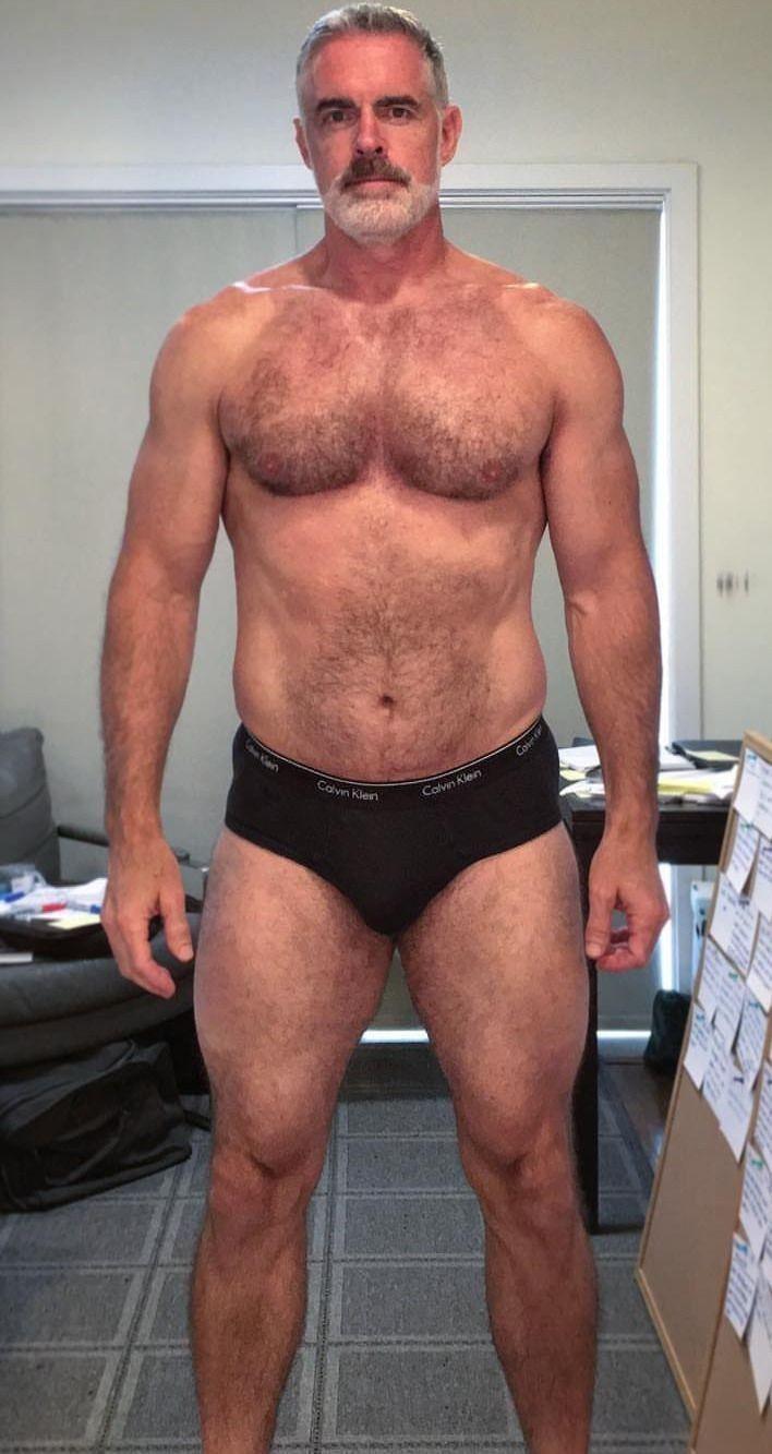 Hairy men swimming underwear naked