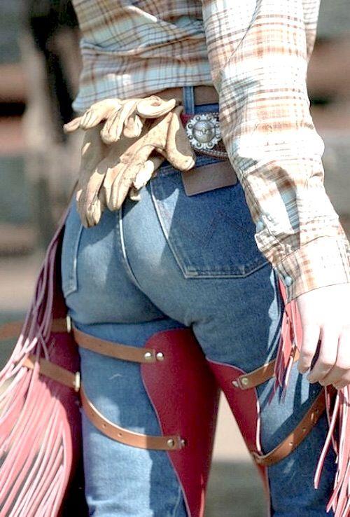 Sexy girl chaps ass