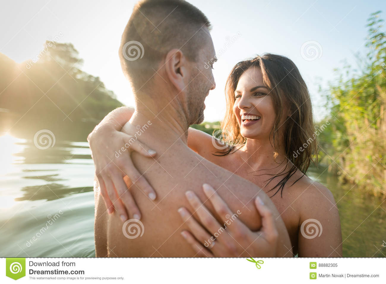 Naked porn couple hugs