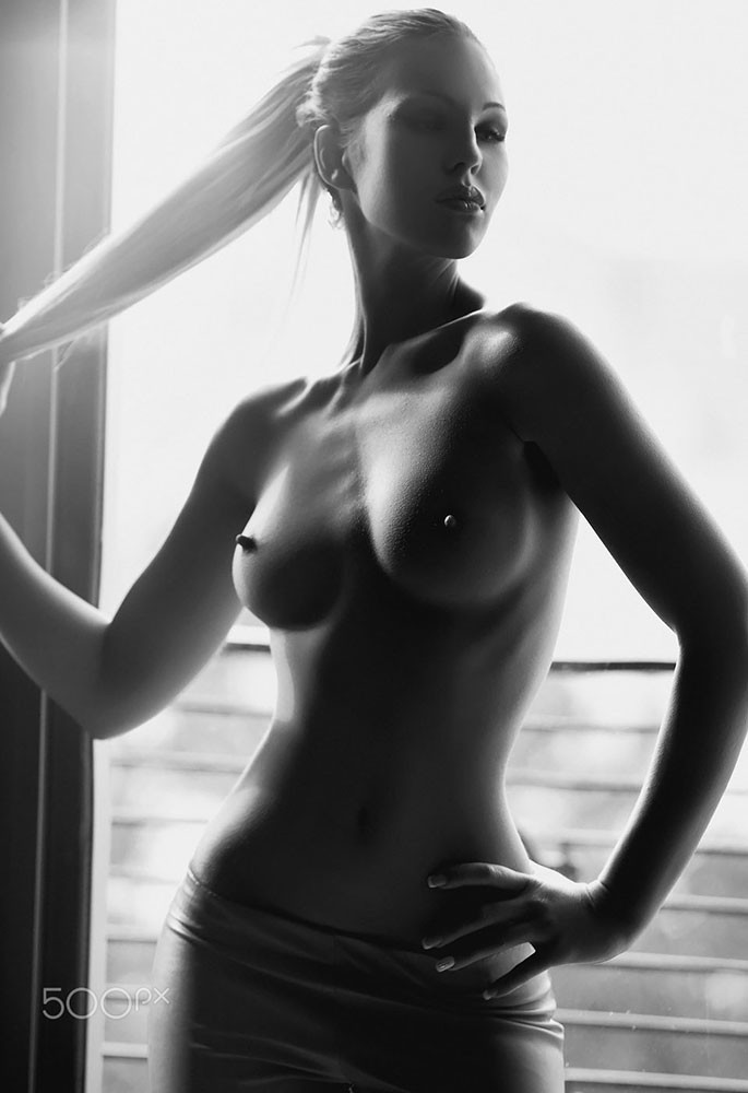 Erotic black and white nude