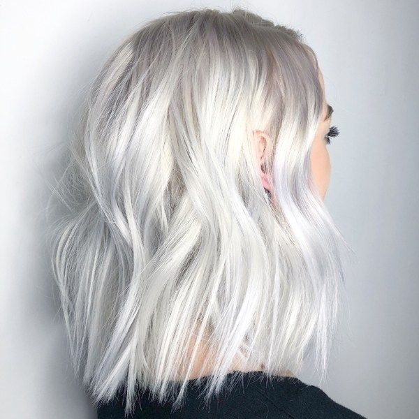 Silver and platinum blonde hair color