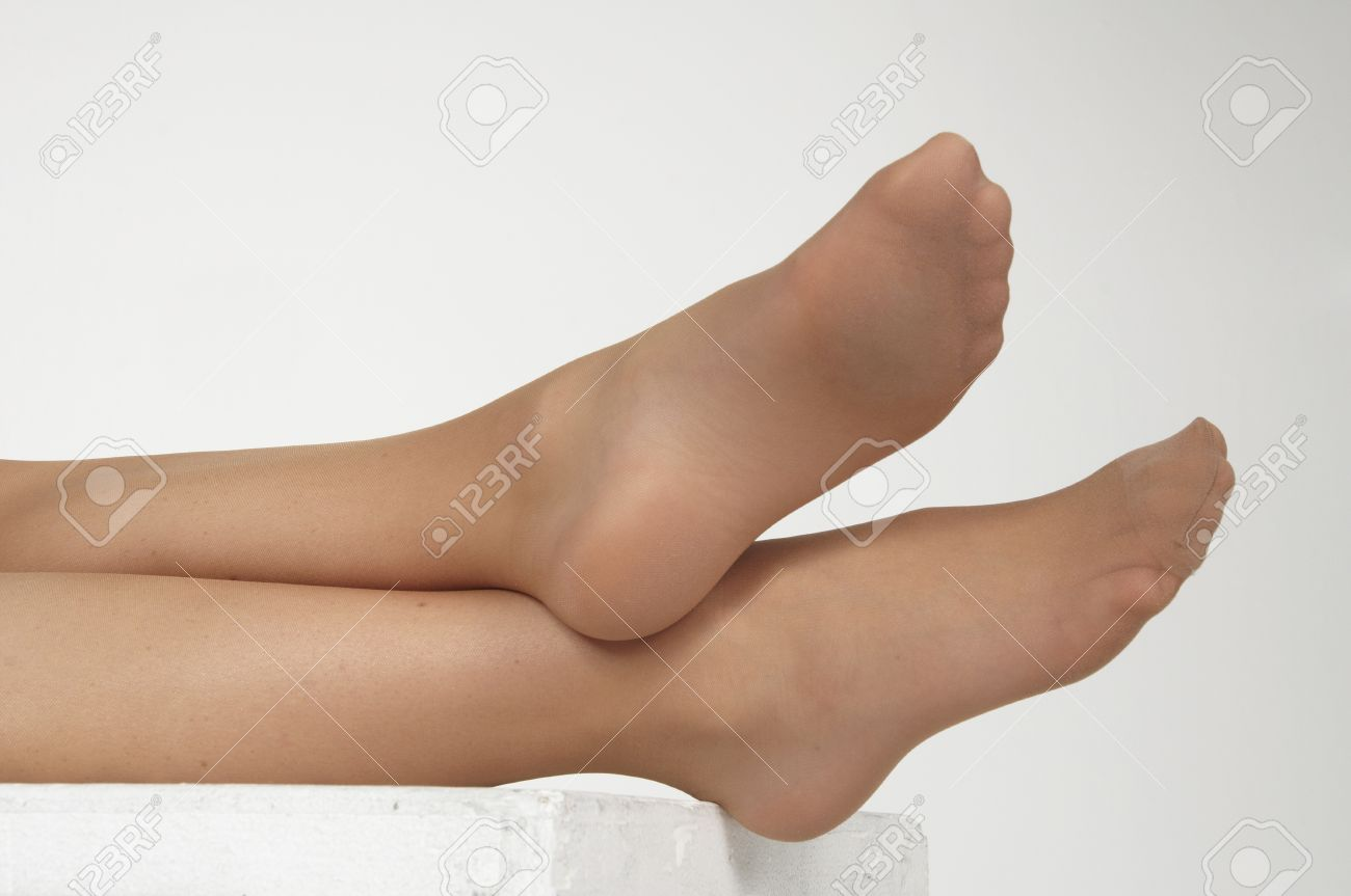 Sexy pantyhose feet close up
