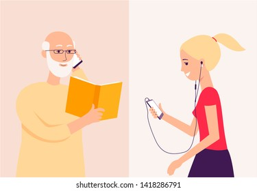 Young girl old man call