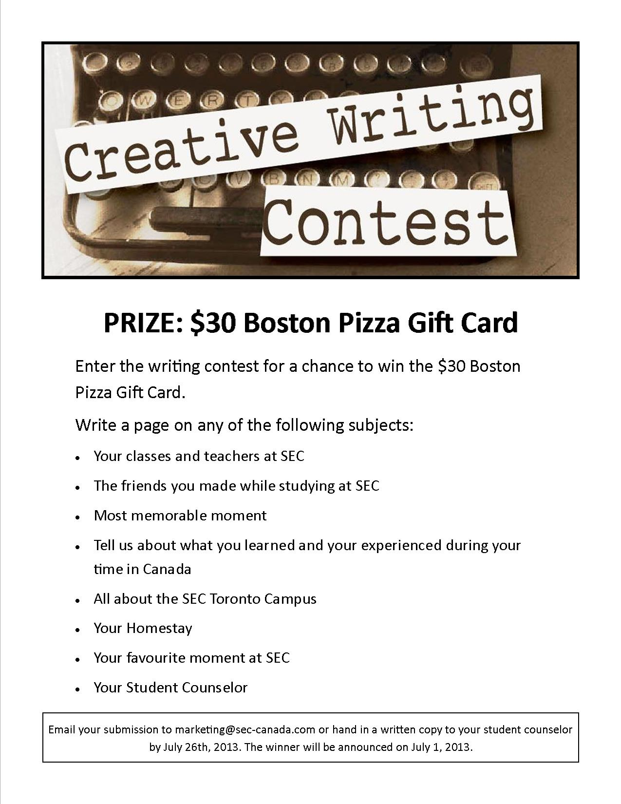 Creative writing competitions for young adults