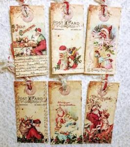 Vintage santa claus hang tags