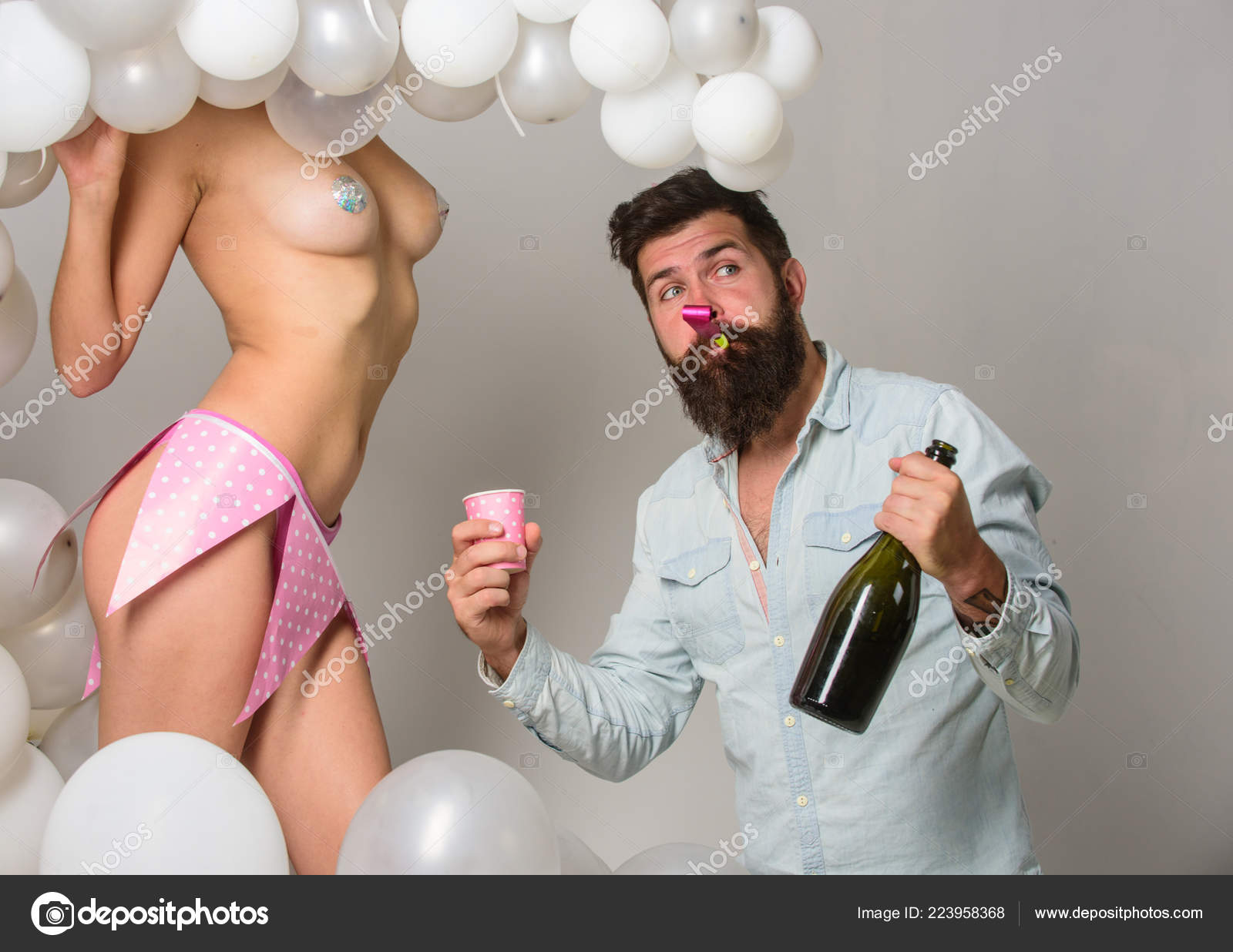 Nude women have birthday party