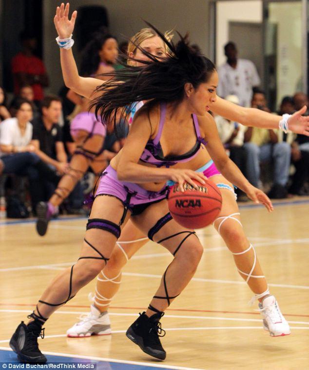 College girls playing strip basketball