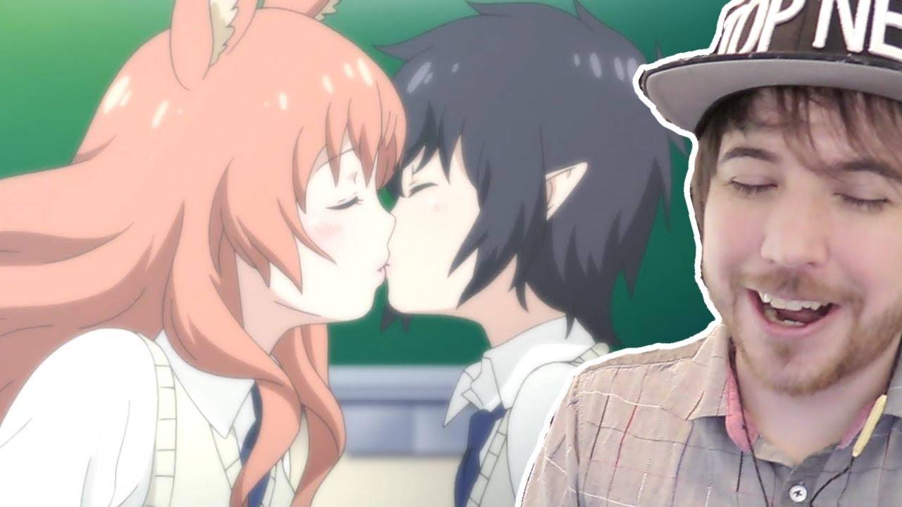 Lesbian anime girls kissing