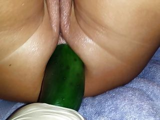 Fucked pussy cucumber ass