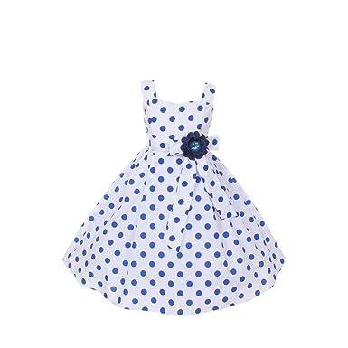 Blue and white polka dot dress girls