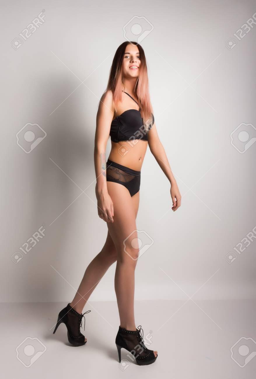 Girl bra panties heels
