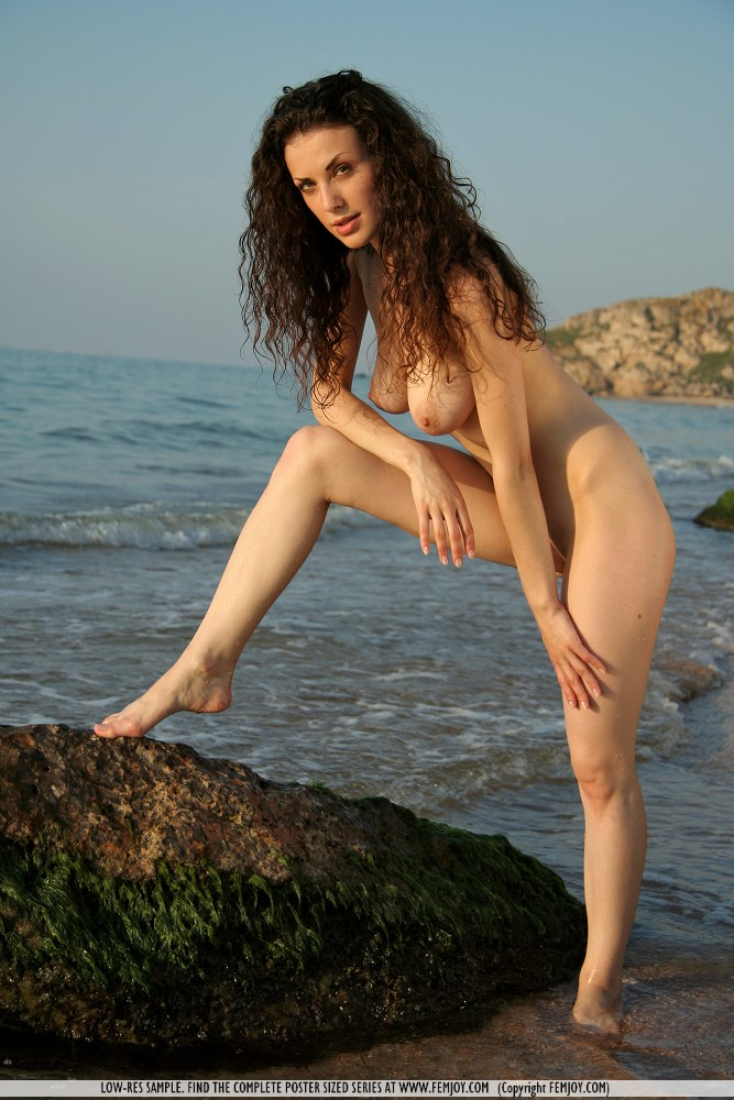 Brunet curly hair nude