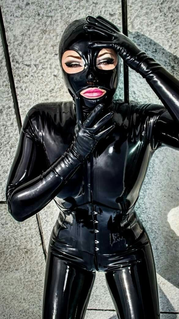 Latex fetish masks and gloves