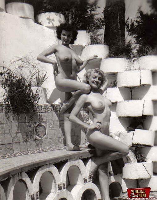 Vintage nude girls outdoors
