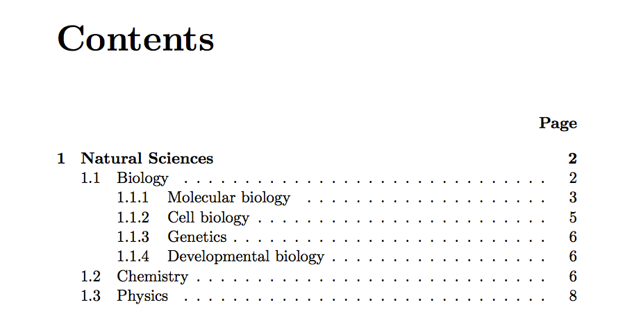 Appendix table of contents latex