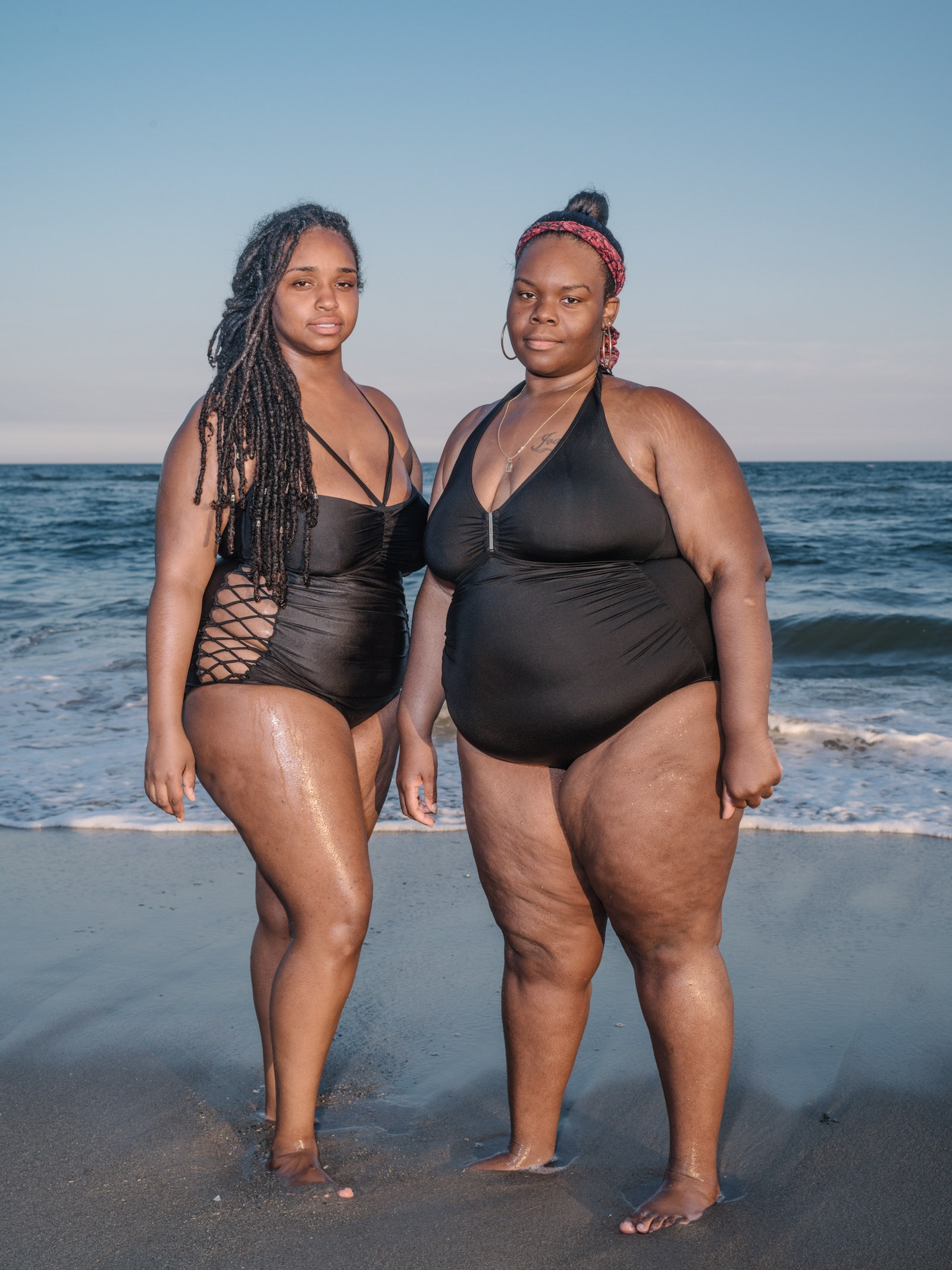 Three naked girls on the beach