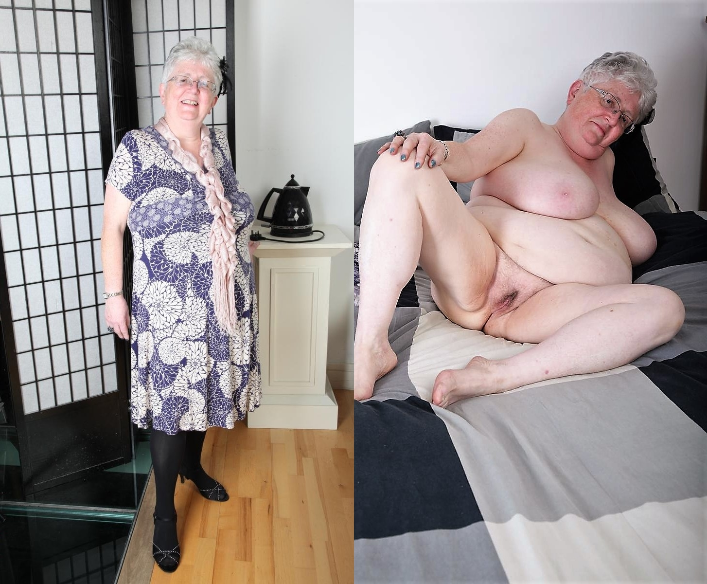 Mature granny dressed undressed