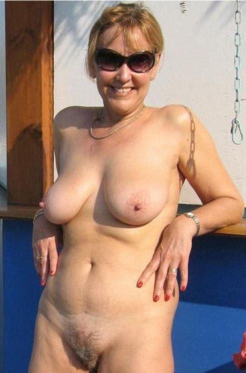 Hairy women sunbathing nude