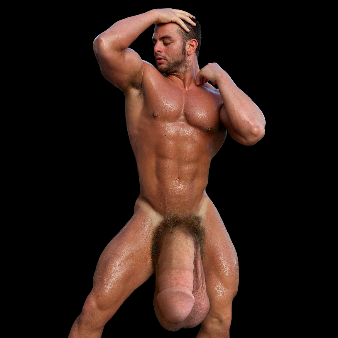 Naked massive dick showing off
