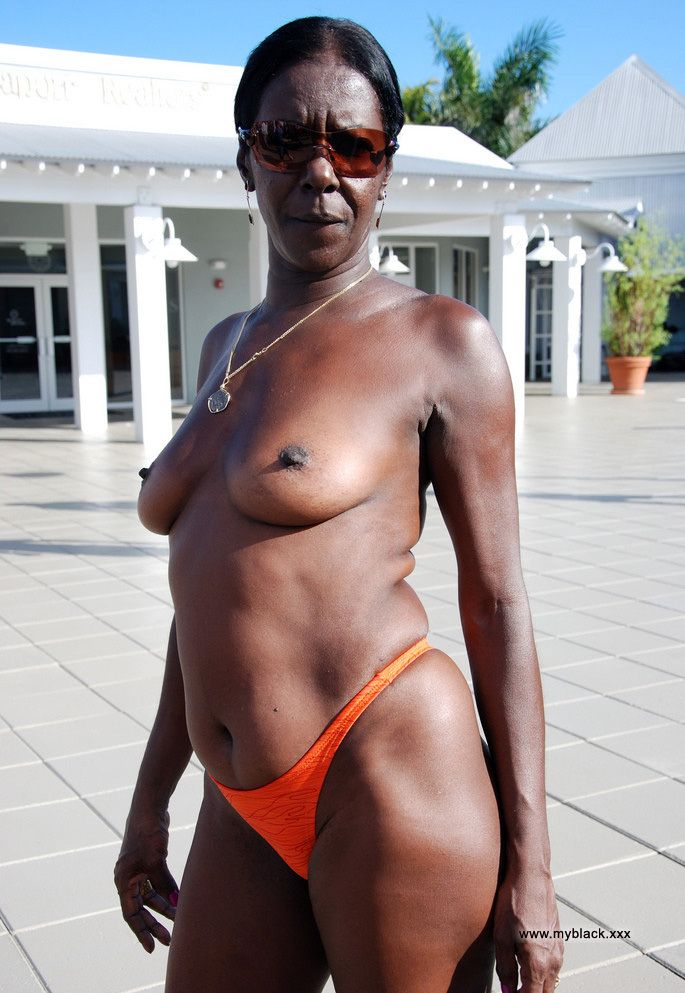 The old black woman naked