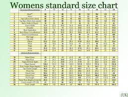Women uk clothing size chart