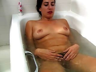 Washing her hairy pussy