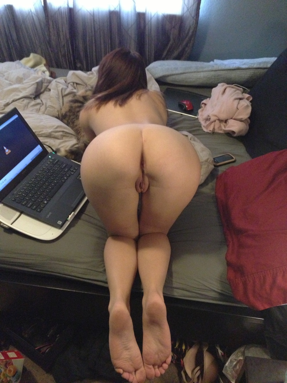 Bent over pussy and ass